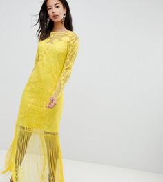 Платье макси с вышивкой и бахромой ASOS DESIGN Tall - Желтый