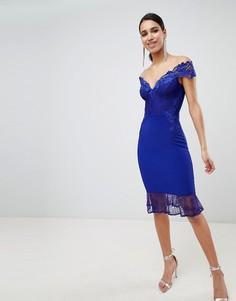 Кружевное платье миди с открытыми плечами Lipsy - Синий