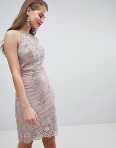 Облегающее платье миди с кружевом Lipsy - Розовый