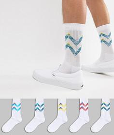 5 пар носков в стиле ретро с шевронными полосками ASOS Sports - Белый