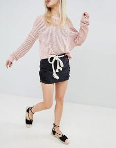 Рваная джинсовая юбка Hollister - Черный