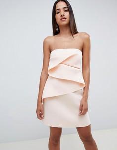 Платье мини А-силуэта с отделкой в стиле оригами ASOS DESIGN - Белый