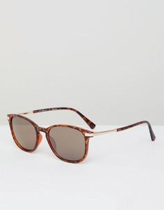 Квадратные черепаховые солнцезащитные очки в стиле ретро AJ Morgan - Коричневый