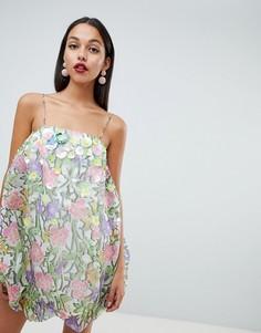Платье с принтом и цветочной 3D-отделкой ASOS DESIGN - Мульти