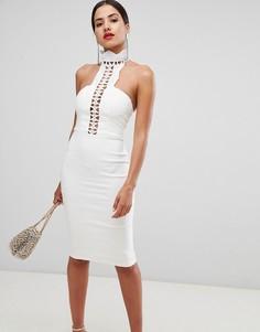 Платье-футляр с ажурной отделкой Rare - Белый