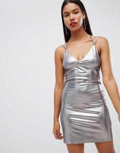 Платье мини с эффектом металлик Strappy - Белый Rare
