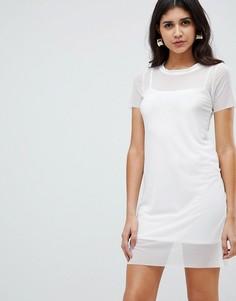 Платье-футболка со вставкой Rare - Белый