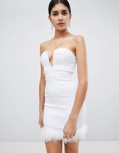 Платье миди с отделкой Rare - Белый