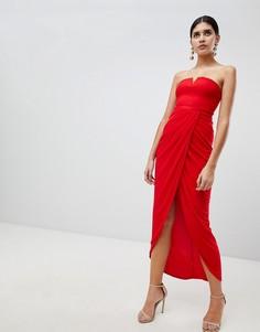 Платье миди с запахом и драпировкой Rare - Красный