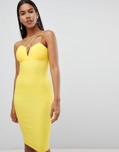 Платье миди с перекрестами Rare - Желтый
