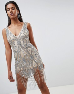 Платье мини с отделкой и бахромой Rare - Розовый