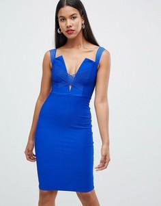 Платье миди с перекрестными бретельками Rare - Синий