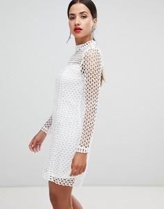 Ажурное платье с длинными рукавами Rare - Белый