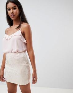 Мини-юбка с пайетками Rare - Кремовый