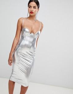 Платье-футляр с глубоким вырезом Rare - Черный