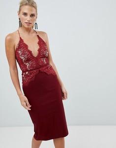 Платье миди с кружевным топом Rare - Красный