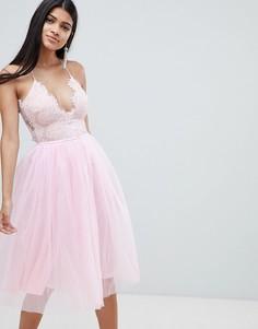 Платье-пачка миди с кружевным топом Rare - Розовый