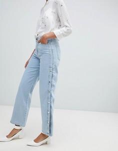 Светлые джинсы с широкими штанинами и кнопками River Island - Синий
