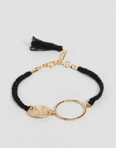 Черный веревочный браслет с кольцом и диском ASOS DESIGN - Черный