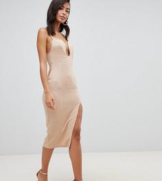 Облегающее платье миди с разрезом до бедра ASOS DESIGN Tall - Бежевый