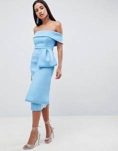 Платье миди с бантом ASOS DESIGN - Синий