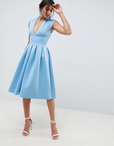 Платье миди для выпускного с открытой спиной ASOS DESIGN - Синий