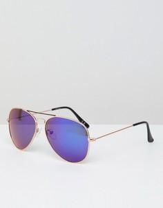Солнцезащитные очки-авиаторы с синими зеркальными стеклами Jeepers Peepers - Серебряный