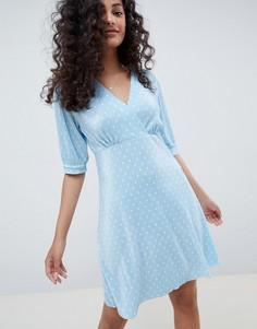 Плиссированное чайное платье мини в горошек ASOS DESIGN - Синий