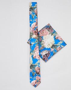 Узкий синий галстук и платок для нагрудного кармана с цветочным принтом ASOS DESIGN wedding - Синий