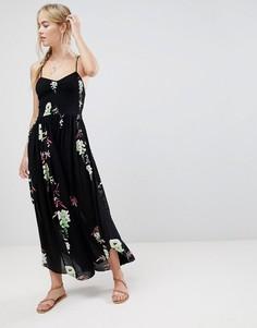 Платье миди с принтом Free People Beau - Черный