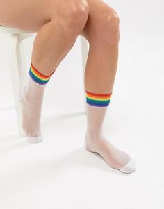 Сетчатые носки в полоску Monki - Белый