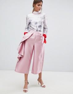 Широкие брюки с оборками Ted Baker - Розовый
