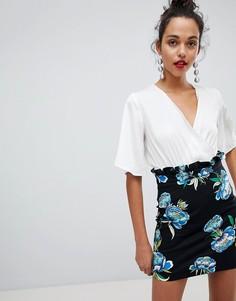 Мини-юбка с цветочным принтом и сборками на поясе River Island - Черный