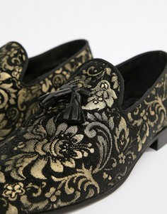 River Island Leather Loafers With Gold Embroidery In Black - Черный