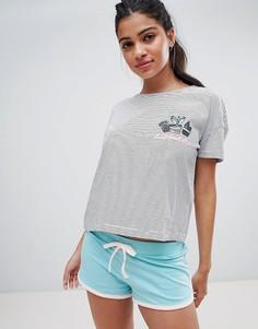 Трикотажный пижамный комплект с принтом кактуса и шортами New Look - Белый