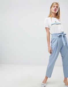 Зауженные брюки с поясом New Look - Синий