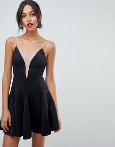 Короткое приталенное платье с глубоким вырезом ASOS DESIGN - Черный