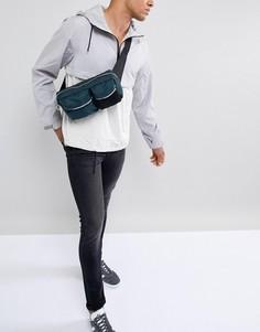Сине-зеленая сумка через плечо с карманами и сеткой ASOS DESIGN - Зеленый