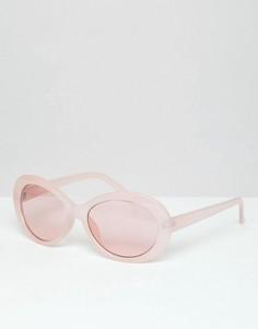 Розовые овальные солнцезащитные очки с розовыми стеклами ASOS DESIGN - Розовый
