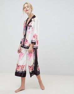 Пижама с топом с отложным воротником и широкими брюками B By Ted Baker - Розовый