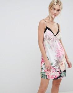 Купить сексуальная черная прозрачная сорочка с цветочным рисунком и длинными рукавами