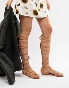 Светло-бежевые высокие сандалии-гладиаторы RAID - Бежевый
