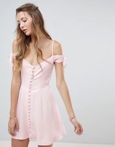 Платье мини на пуговицах Flynn Skye - Розовый