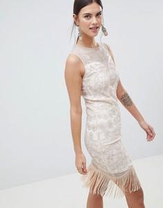 Платье миди с бахромой и пайетками C By Cubic - Золотой