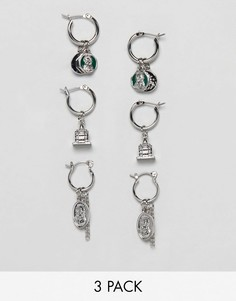 Набор из 3 пар серебристых сережек-колец (с монетами в винтажном стиле/ миниатюрными подвесками) ASOS DESIGN - Серебряный