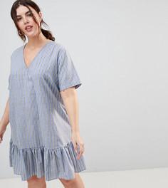Платье А-силуэта в полоску с оборкой эксклюзивно для ASOS DESIGN Curve - Мульти