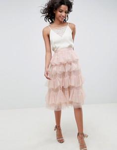 Розовая ярусная юбка миди из тюля Needle & Thread - Розовый