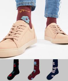 3 пары носков с цветочным принтом ASOS - Мульти
