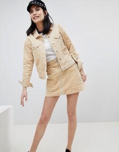Вельветовая мини-юбка Monki - Бежевый