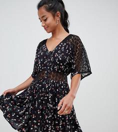 Повседневное чайное платье с кружевной вставкой ASOS DESIGN Petite - Мульти